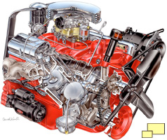 1955 Corvette V8 engine, drawing by David Kimble
