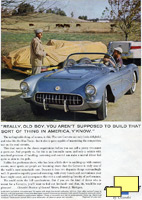 Old Boy ad pointing out that the Corvette could competete with the imports