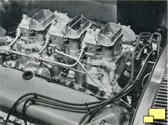 Three Holley two barrel carburetors found in the L68 and L71 engined 1967 Corvettes