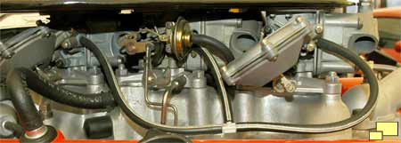 Three Holly carburetors on 427 cu. in. 1967 Corvette Stingray Engine