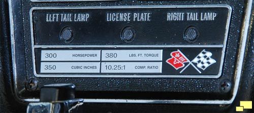 1969 Corvette Base Engine Specifications Plate