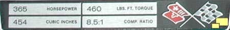 1971 Corvette Engine stats label