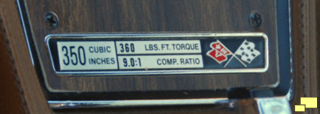 1972 Corvette Engine Specifications Plate