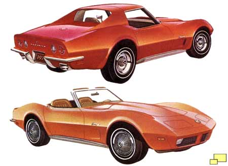 1973 Corvette: front, rear view