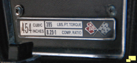 1974 Corvette LS4 454 Engine Specifications Plate