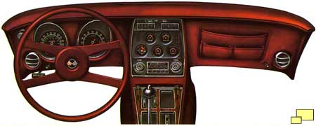 1976 Corvette dashboard - brochure illustration