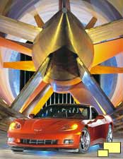 C6 Corvette poses inside of GM wind tunnel