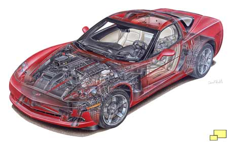 C5 Corvette Cutaway drawing by David Kimble