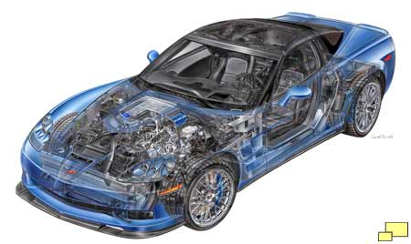 2009 Corvette ZR1 cutaway drawing by David Kimble