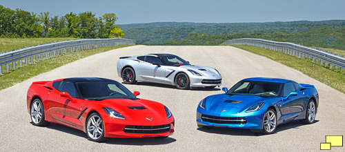 2014 Chevrolet Corvette Torch Red, Blade Silver Metallic and Laguna Blue Tintcoat