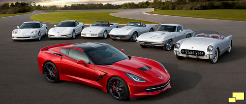 Chevrolet Corvettes honor the C7; from left to right: 2013, 2001, 1987, 1972, 1966 and 1954