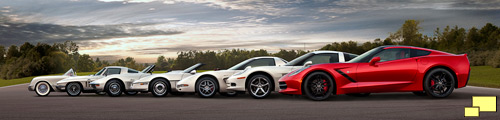 Chevrolet Corvettes honor the C7; from left to right: 1954, 1966, 1972, 1987, 2001 and 2013