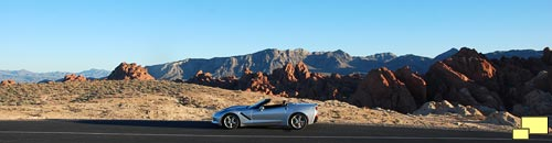 2016 Chevrolet Corvette C7 Convertible in Blade Silver Metallic at Valley of Fire, Nevada