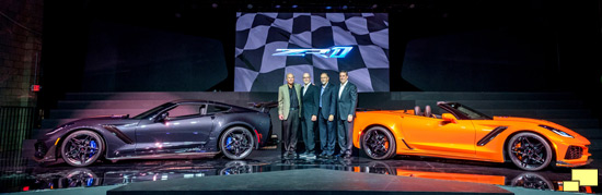 2019 Chevrolet Corvette ZR1 Convertible Press Reveal Los Angeles November 28,2017. (l to r), Corvette Executive Chief Engineer Tadge Juechter, Corvette Design Director Tom Peters, Corvette Design Manager Kirk Bennion and General Motors Executive Vice President Global Product Development Mark Reuss