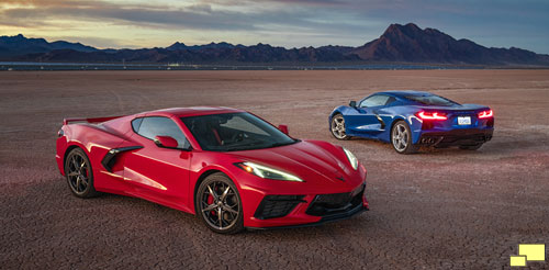 2020 Chevrolet Corvette C8 Stingray in Torch Red and Elkhart Lake Blue