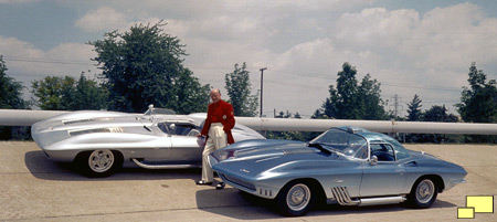Bill Mitchell with 1959 Corvette Stingray and 1961 Corvette Mako Shark.