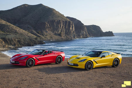 Corvette C7 Convertible in Torch Red; Coupe in Velocity Yellow