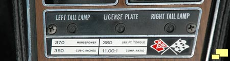 1970 Chevrolet Corvette LT-1 engine plaque