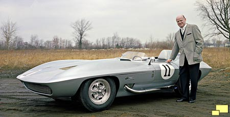Bill Mitchell with his 1959 Sting Ray Racer
