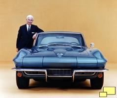 Zora Arkus Duntov with 1966 Corvette Stingray